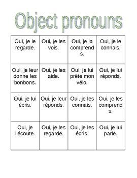 Pronoms compléments Object pronouns Bingo game and worksheet