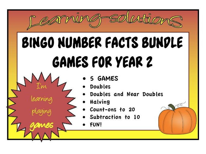 BINGO GAMES - 5 Games - Year 2 Number Facts - Doubles/Near Doubles/Halving/Count Ons/Subtraction