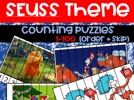 Seuss Theme Counting Puzzles (1-100)