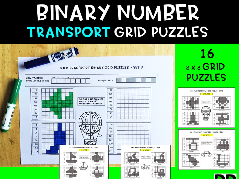 Transport Theme Binary Number Puzzles