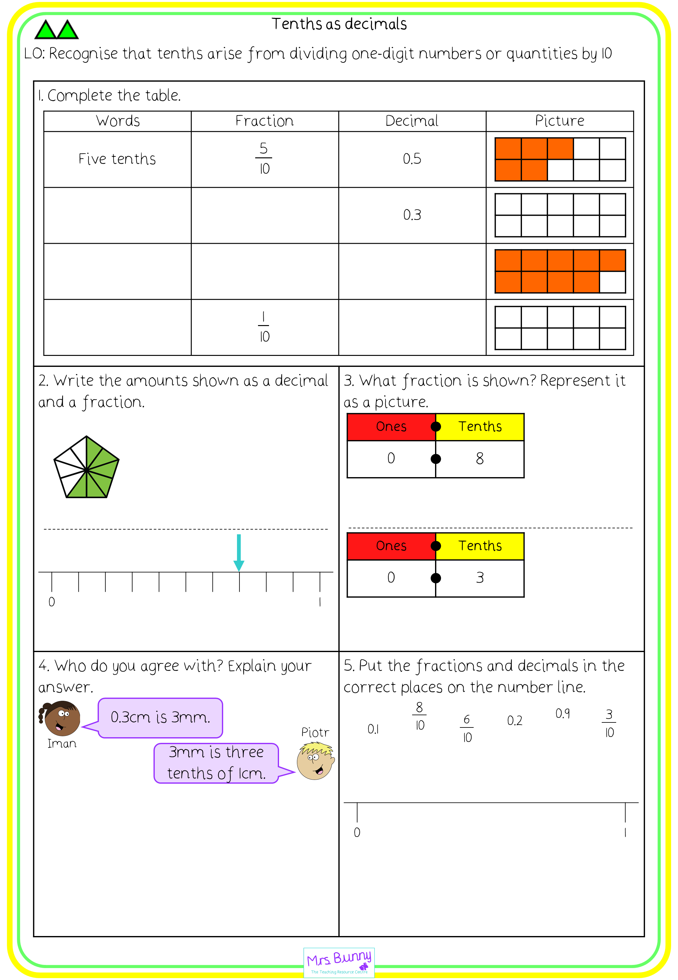 tenths as decimals worksheets year 3 fractions