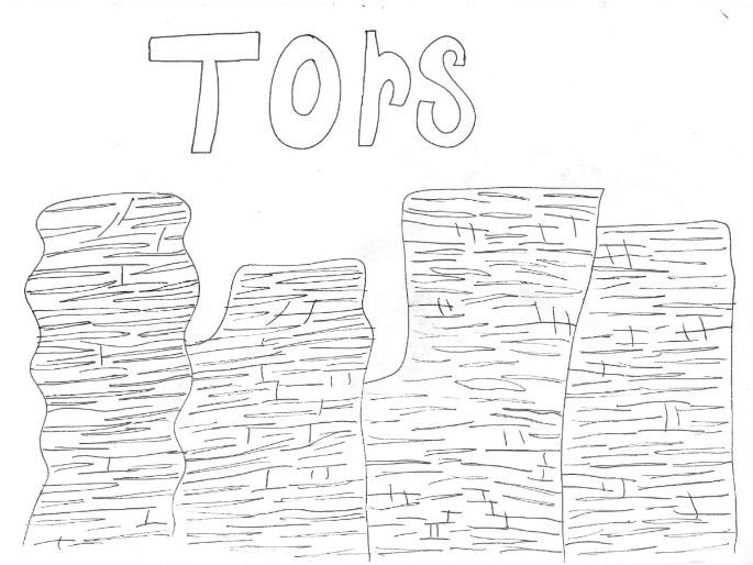 Tors: Geography: Colouring page
