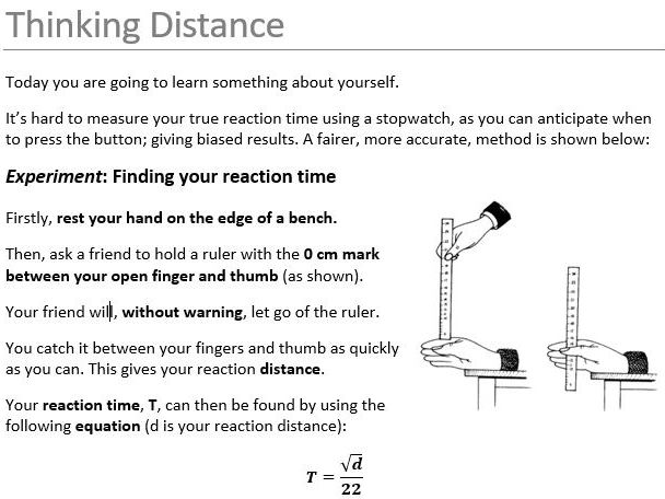 Easy Practical: Reaction Times using 1m rule!