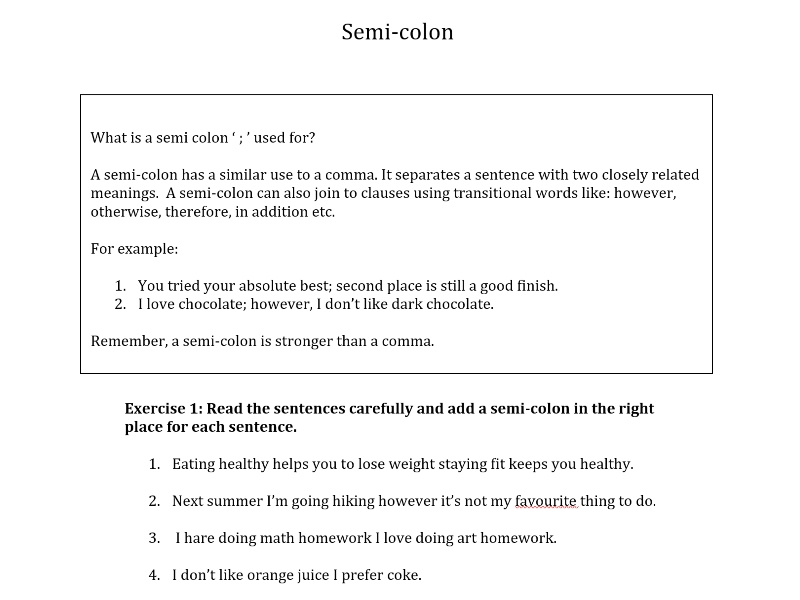 KS2 - Semi Colons and Colons worksheet