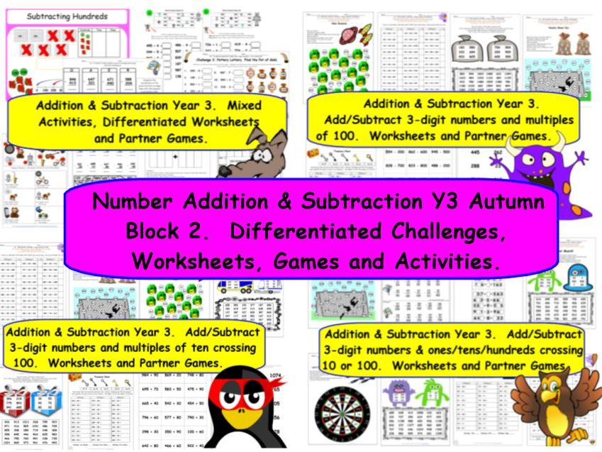 Number Addition & Subtraction Y3 Autumn Block 2 KS2 Differentiated Challenges for White Rose Small Steps