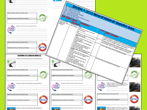 GCSE AQA 9-1 Natural Hazard Exam Questions and Revision Sheets