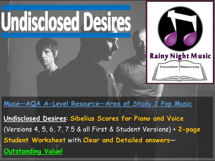 MUSE - UNDISCLOSED DESIRES - Teaching & Learning Pack - AQA A Level Music - Area of Study 2: POP
