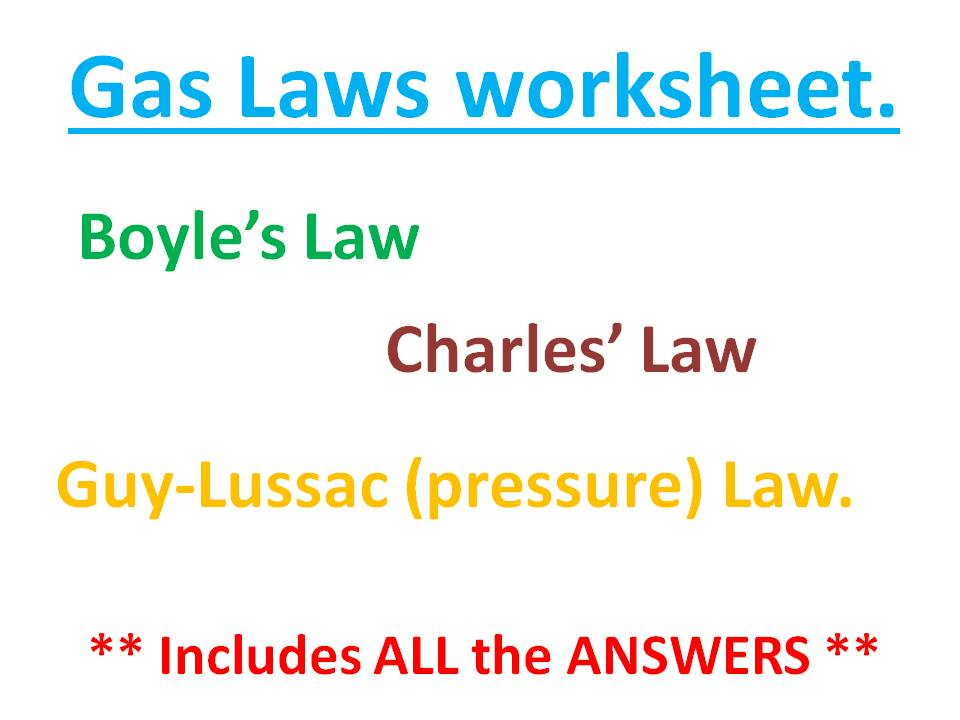 Gas laws worksheet and answers
