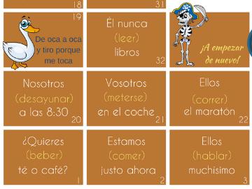 La oca - Game to practise Spanish verbs - Juego para practicar los verbos en español