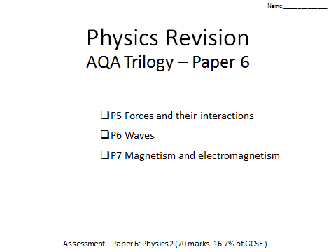 AQA Trilogy Physics revision paper 6 p5-7