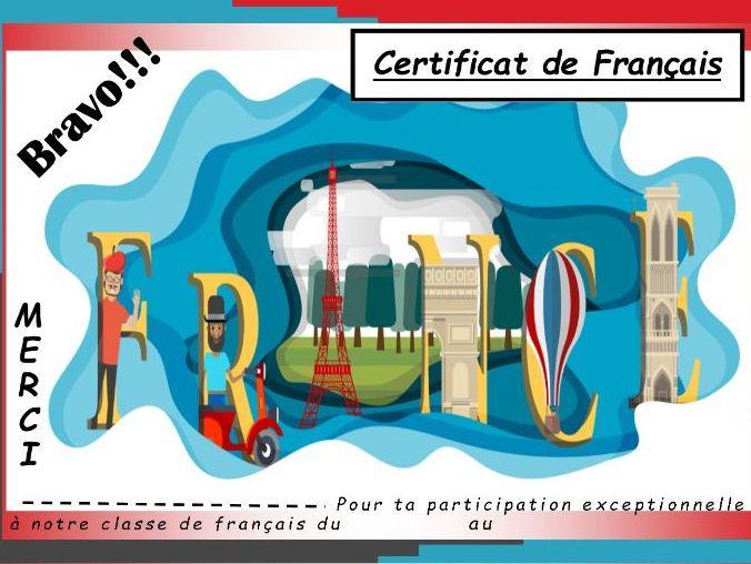 General French certificate 5/ Certificat de francais 5