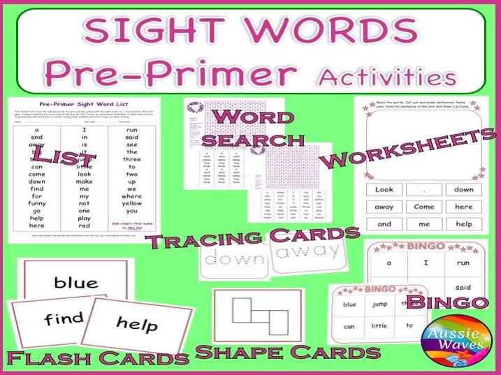 Sight Words PRE-PRIMER BUNDLE Games, Puzzles, Activities, Flash Cards, Bingo