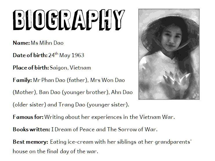 Fictional Biography Text