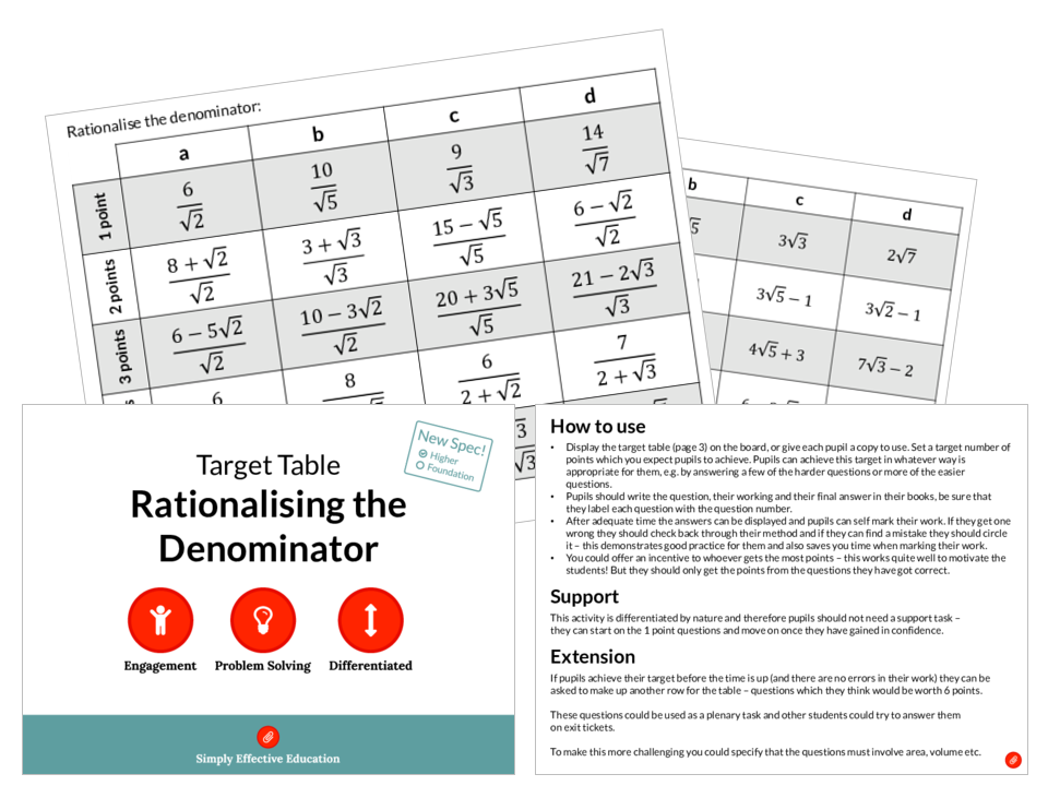 Rationalising the Denominator (Target Table)
