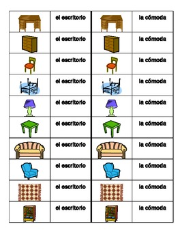 Muebles (Furniture in Spanish) Dominoes