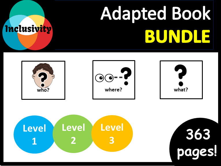 Adapted book bundle WHO, WHERE, WHAT? level 1, level 2 and level  3