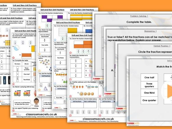 FREE Year 3 Unit and Non Unit Fractions Spring Block 5 Maths Lesson Pack