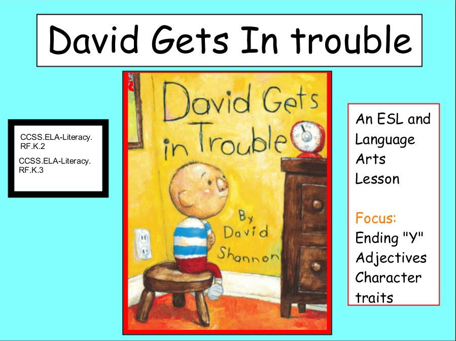 "Phonics awareness ""David Gets in Trouble"" ESL and ELA bundle with Y-end words"