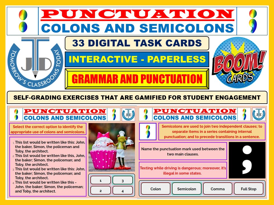 COLONS AND SEMICOLONS - PUNCTUATION: 33 BOOM CARDS