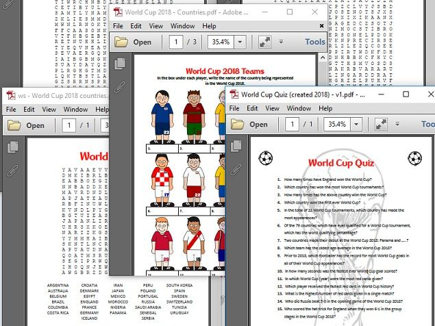 World Cup Activites Bundle - 3 x wordsearches, 'Name the team', Anagrams, WC Quiz