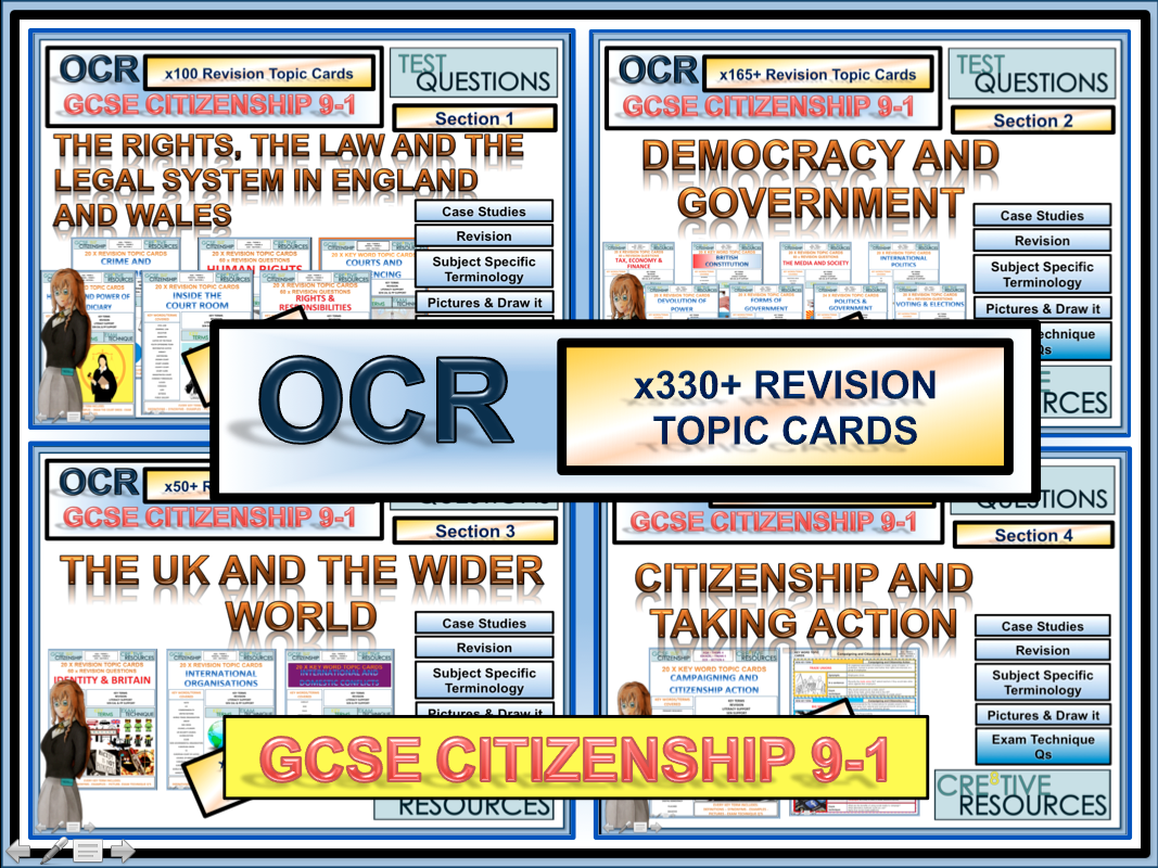 Full Citizenship GCSE 9-1 Revision 335+ Revision topic Cards OCR