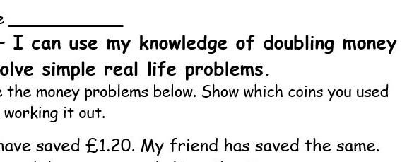 Solving doubling money real life problems (YR 2/3)