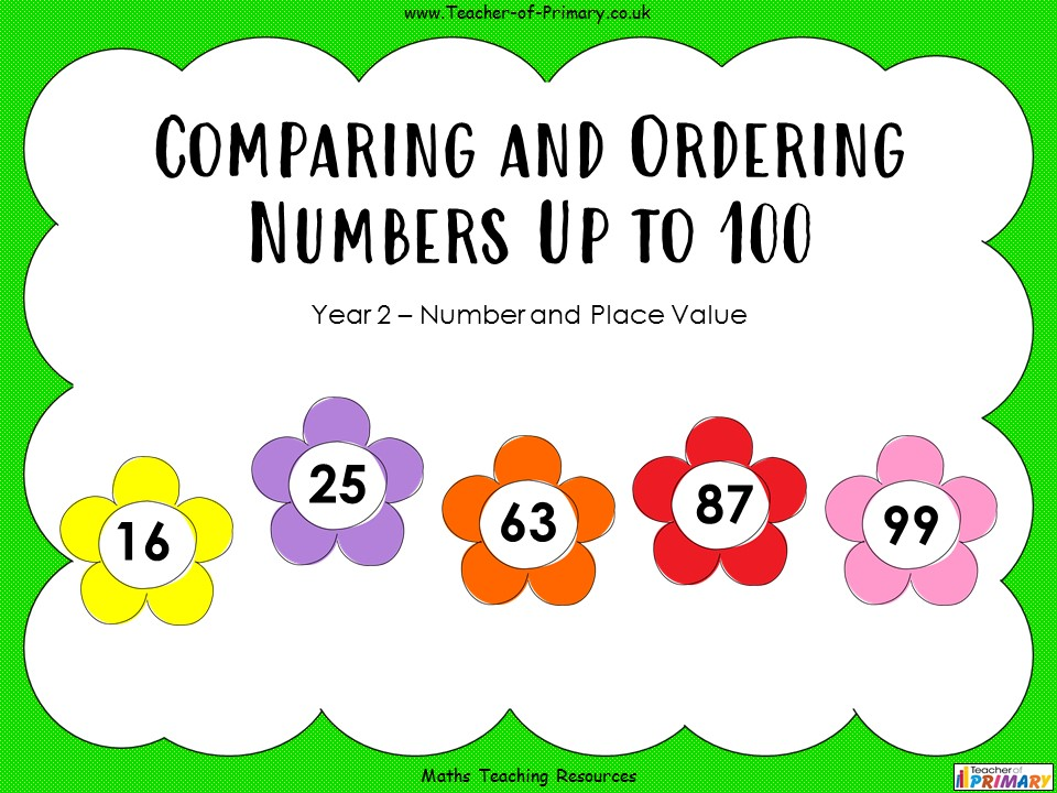 Comparing and Ordering Numbers Up to 100 - Year 2