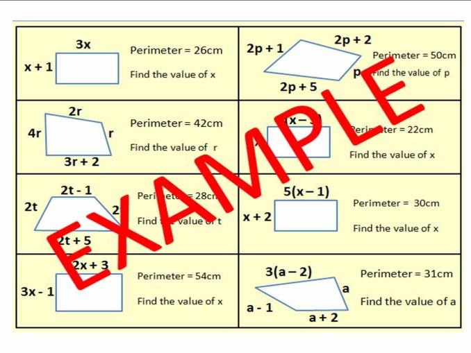 Forming and Solving Equations when GIVEN THE PERIMETER or when shapes have EQUAL SIDES