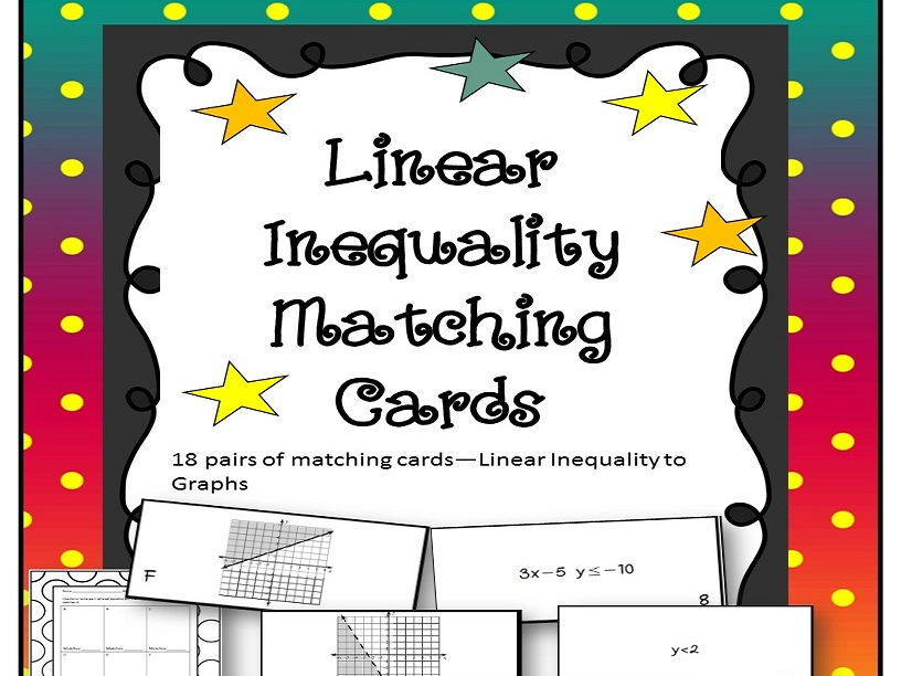 Linear Inequality with Graphs Matching Card Set