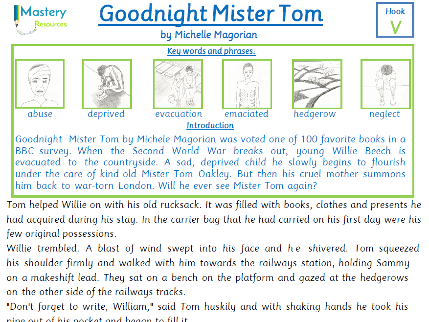 Goodnight Mister Tom by Michelle Magorian Comprehension KS2