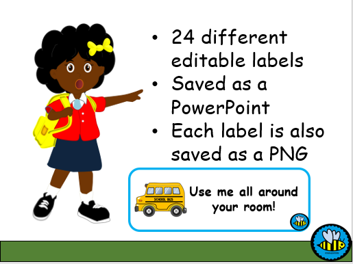 Editable School Themed Labels