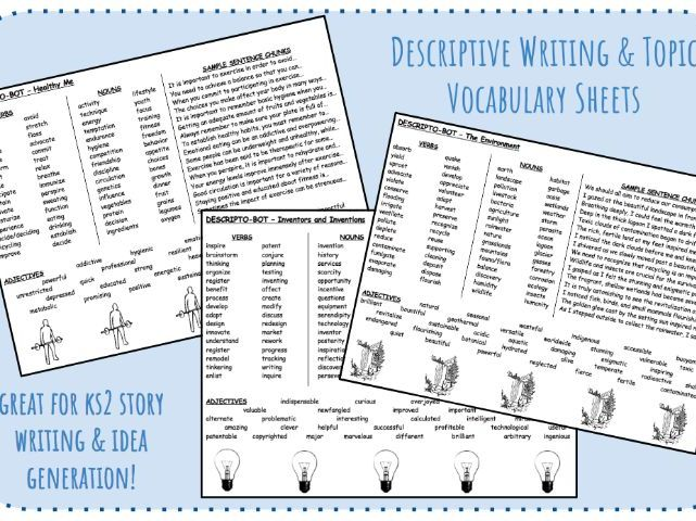 Descriptive Writing & Topic Vocabulary Sheets