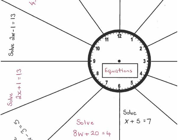 GCSE Maths Foundation/Functional Skills - Revision Clock Equations With One Variable