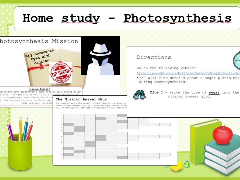 Home school task - GCSE Photosynthesis escape room task/mission