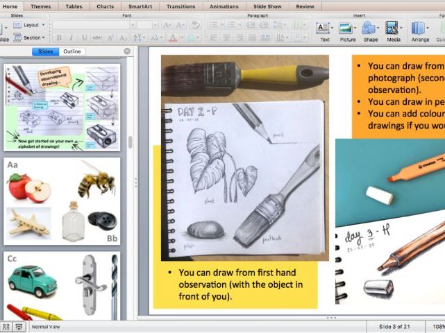 Observational Drawing Alphabet - Imagery, Examples and Guidance