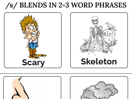 S BLENDS IN 2-3 WORD PHRASES