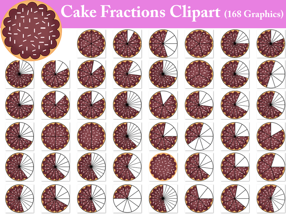 Cake Fractions Clipart- 168 Graphics!