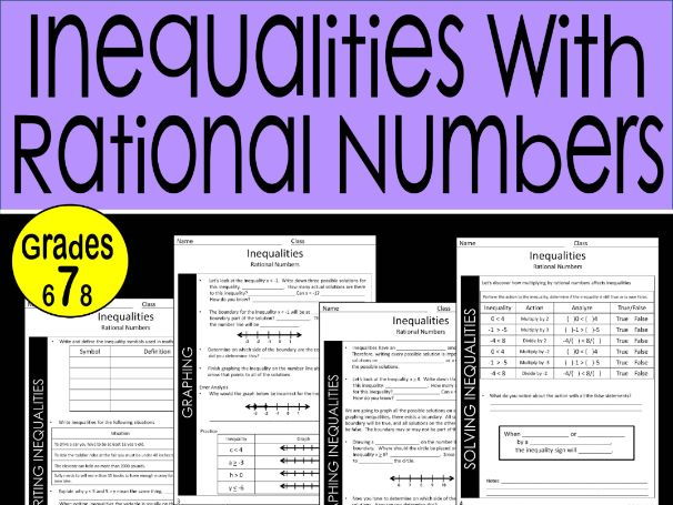 Inequalities with Rational Numbers Guided Notes