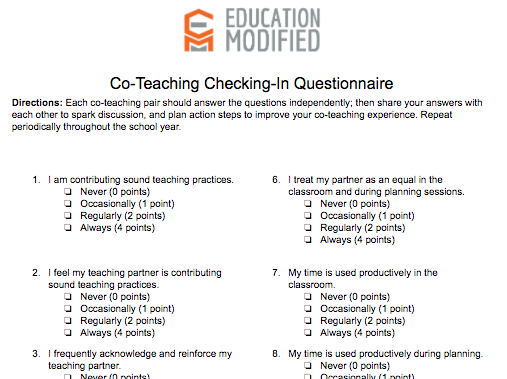 "Co-Teacher ""Checking In"" Questionnaire"