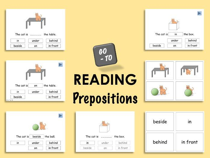 Reading. Prepositions - in, on, under, behind, beside and in front.