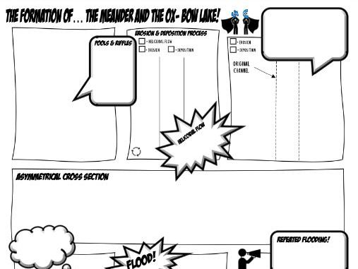 Meander and oxbow lake comic strip and lesson