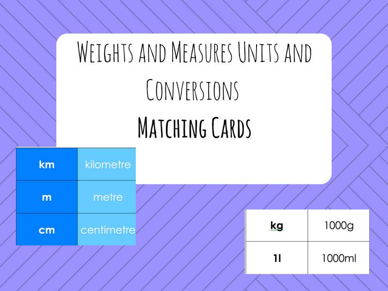 Weights and Measures Unit Pelmanism/Matching Activity (metric UK) - Maths/ESOL/ESL/EAL/Primary/LDD