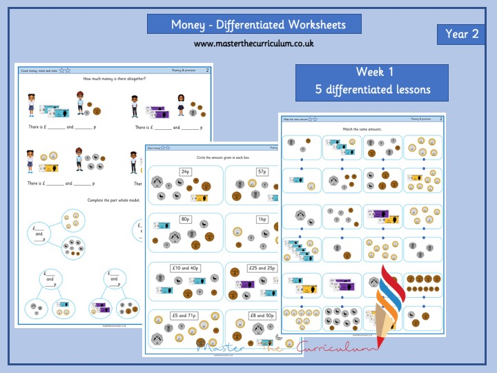 Year 2- Differentiated Money Worksheets- Autumn 1 Block 4- White Rose Style