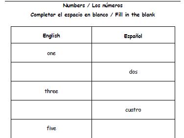 Bilingual Numbers 1-10 - Spanish and English
