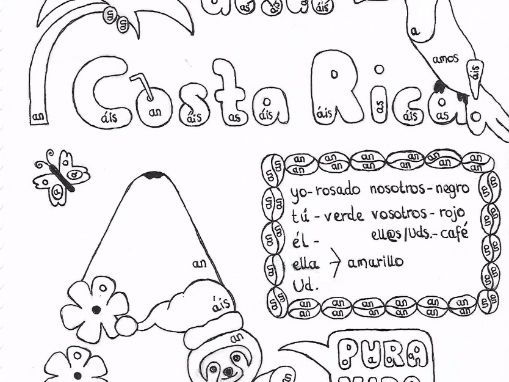 Spanish Color by conjugation AR-verbs Costa Rica Christmas no prep practice