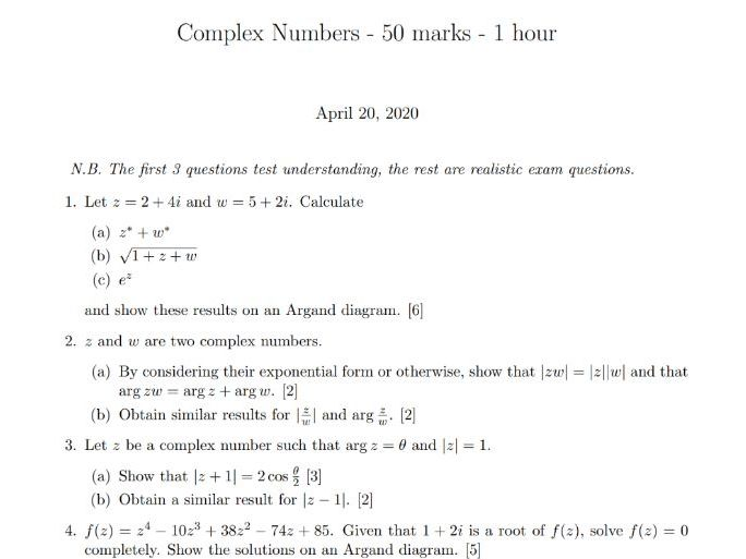 Complex Numbers Test (Edexcel A-level)