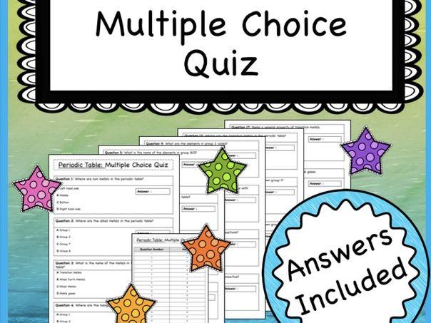 Periodic Table Multiple Choice Quiz