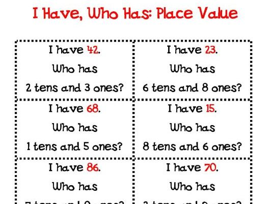 Place value - Tens and ones who has?