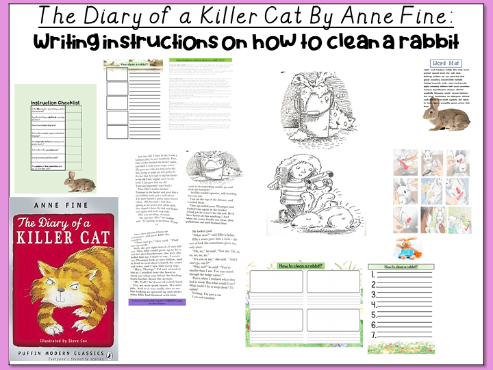 The Diary of a Killer Cat by Anne Fine- Writing Instructions on How to Clean a Rabbit