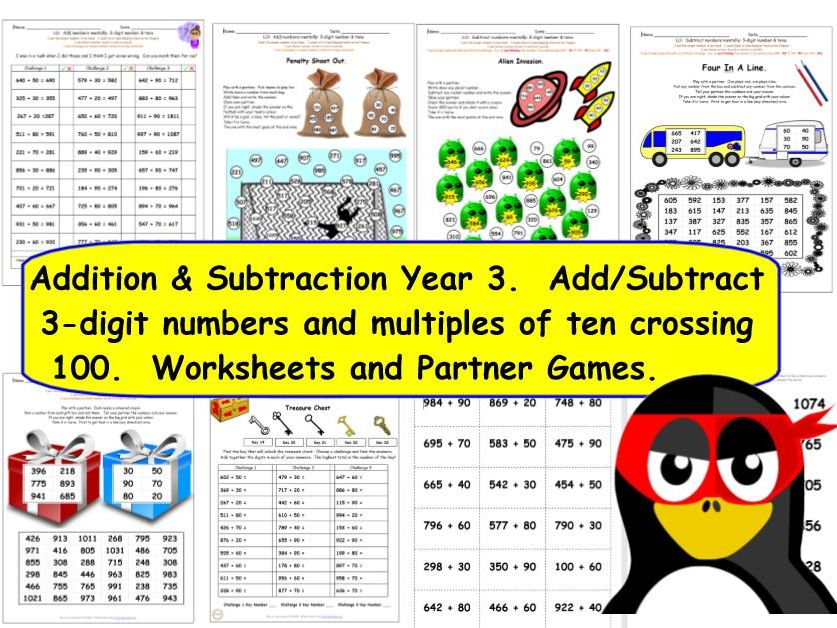Y3 Add and Subtract 3-digit and 2-digit multiples of ten crossing 100.  KS2 Activities & Worksheets.